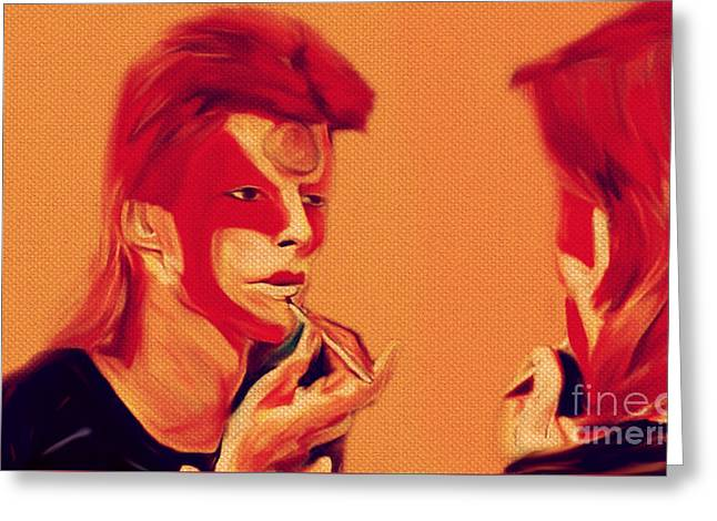 David Bowie 1973 May First Make Up To Be Ziggy Stardust Greeting Card