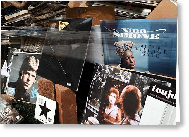 David Bowie And Nina Simone - Greenwich Village Record Store Greeting Card by Madeline Ellis