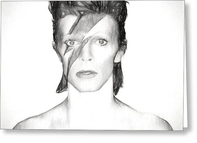 David Bowie Charcoal  Greeting Card
