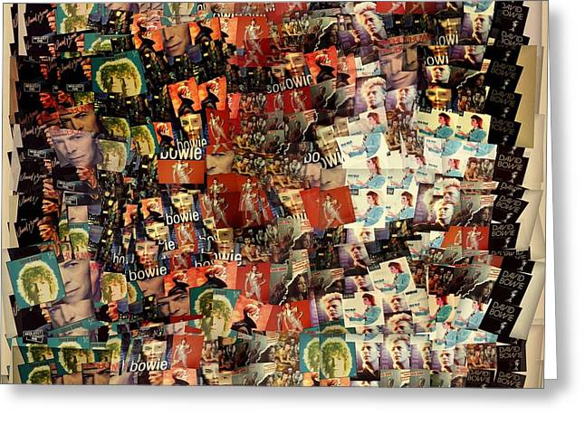 David Bowie Collage Mosaic Greeting Card by Dan Sproul