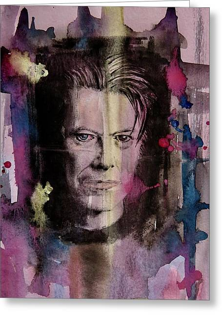 Greeting Card featuring the painting David Bowie by Geni Gorani