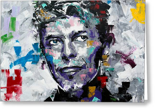 Greeting Card featuring the painting David Bowie II by Richard Day