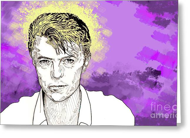 Greeting Card featuring the drawing David Bowie by Jason Tricktop Matthews