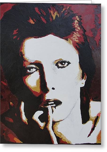 David Bowie Greeting Card by Ricklene Wren