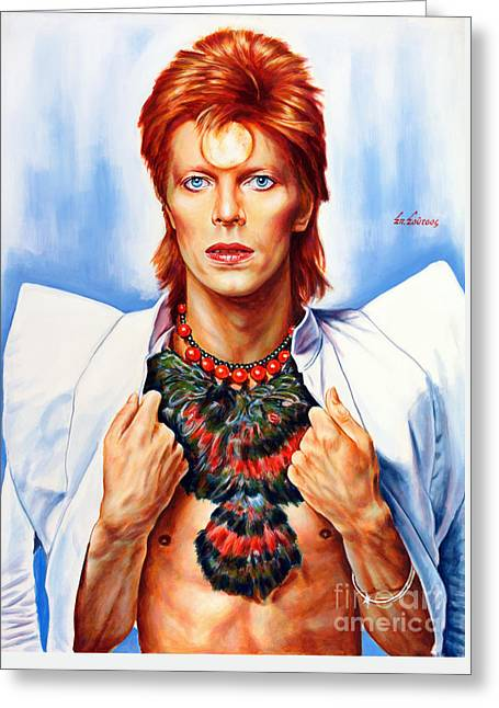 David Bowie Greeting Card by Spiros Soutsos