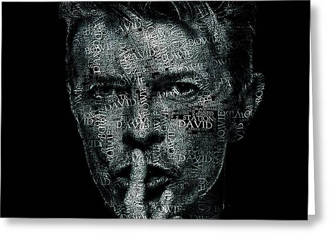 David Bowie Text Portrait - Typographic Face Poster Created With All The Album Titles By David Bowie Greeting Card