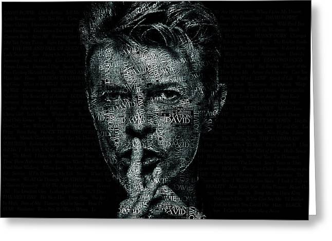 David Bowie Text Portrait - Typographic Poster With Album Titles And Background With Songs Names Greeting Card by Jose Elias - Sofia Pereira