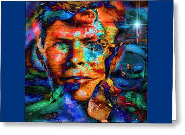 David Bowie - The Visionary Of The Future Greeting Card by Daniel Arrhakis