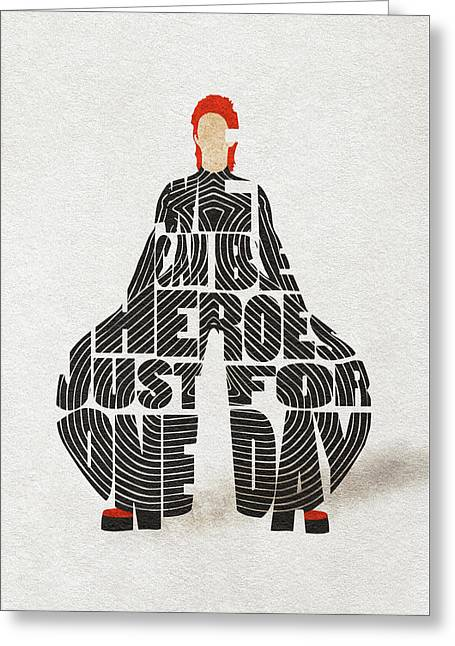 David Bowie Typography Art Greeting Card