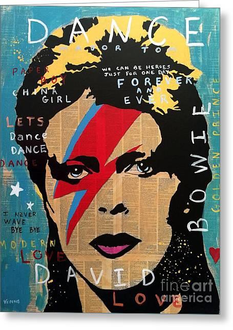 David Bowie Greeting Card by Venus