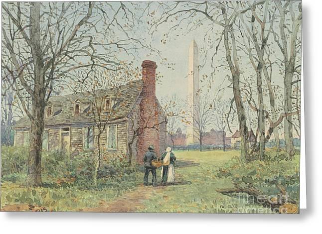 David Burns's Cottage And The Washington Monument, Washington Dc, 1892  Greeting Card