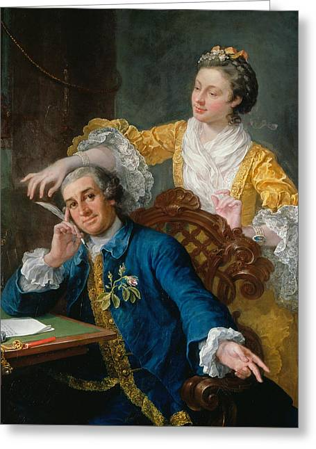 David Garrick With His Wife Eva-maria Veigel Greeting Card by William Hogarth