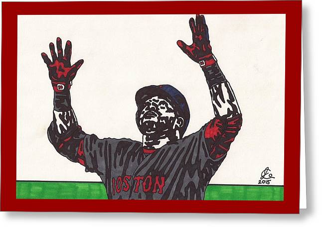 David Ortiz 2 Homer 498 Greeting Card by Jeremiah Colley