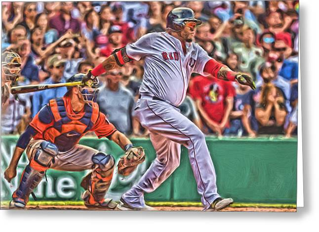 David Ortiz Boston Red Sox Oil Art 1 Greeting Card by Joe Hamilton