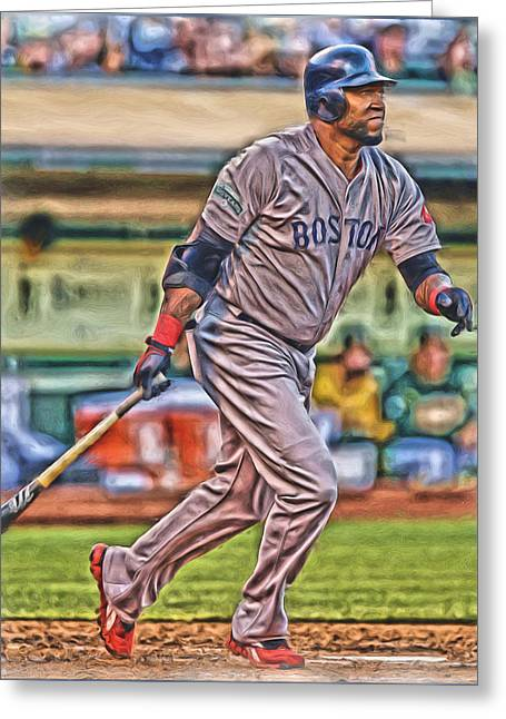 David Ortiz Boston Red Sox Oil Art 2 Greeting Card by Joe Hamilton
