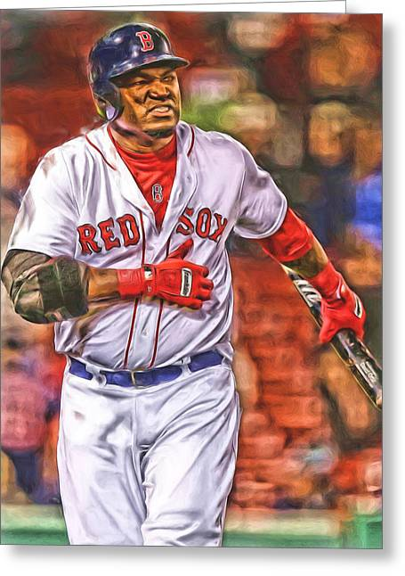 David Ortiz Boston Red Sox Oil Art 3 Greeting Card by Joe Hamilton