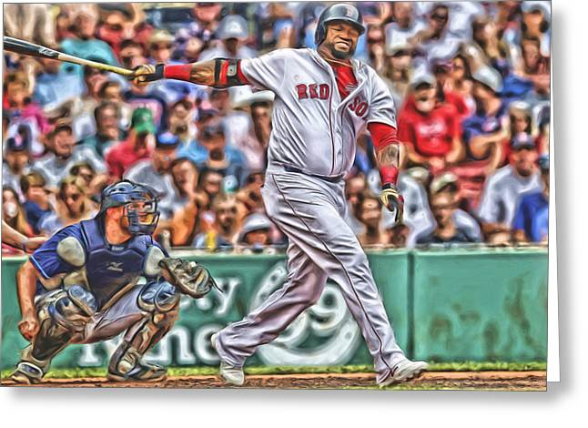 David Ortiz Boston Red Sox Oil Art 5 Greeting Card by Joe Hamilton
