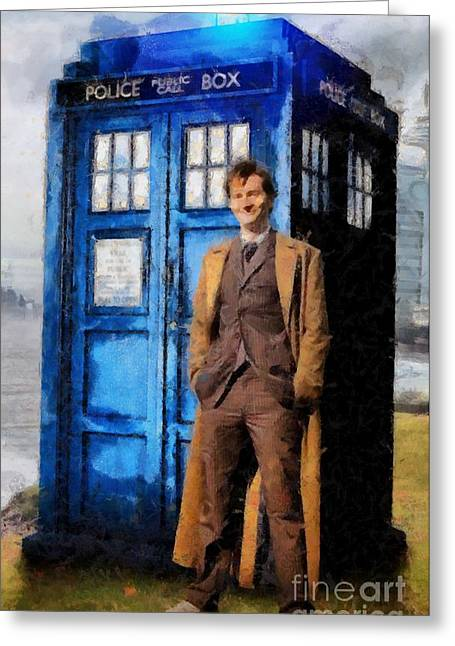 David Tennant As Doctor Who And Tardis Greeting Card by Elizabeth Coats