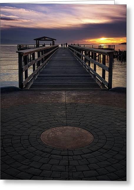 Davis Bay Pier Evening Light Greeting Card