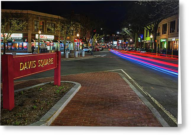 Davis Square Sign Somerville Ma Mikes Greeting Card