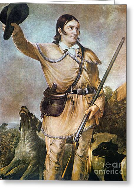 Davy Crockett With His Hunting Dogs In 1836 Greeting Card by American School