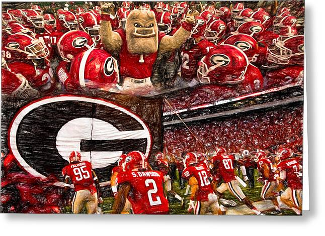 Dawgs 2015 Collage Greeting Card by John Farr
