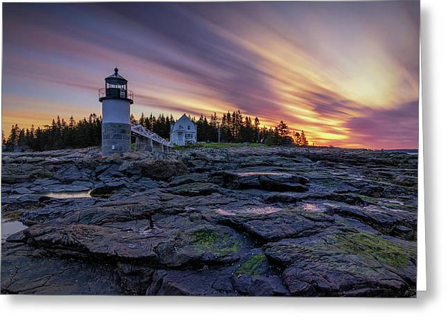 Dawn Breaking At Marshall Point Lighthouse Greeting Card