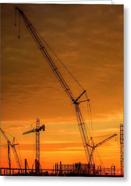 Dawn And Cranes Crawler Cranes And Tower Crane Construction Art Greeting Card