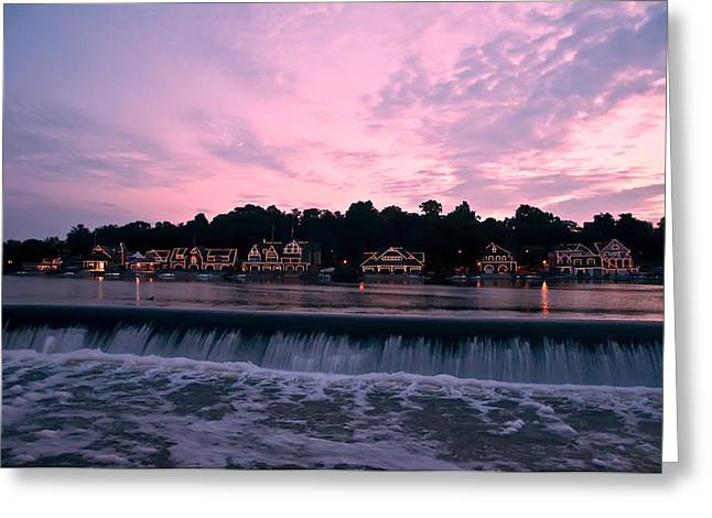 Boathouse Row Greeting Cards - Dawn at Boathouse Row Greeting Card by Bill Cannon