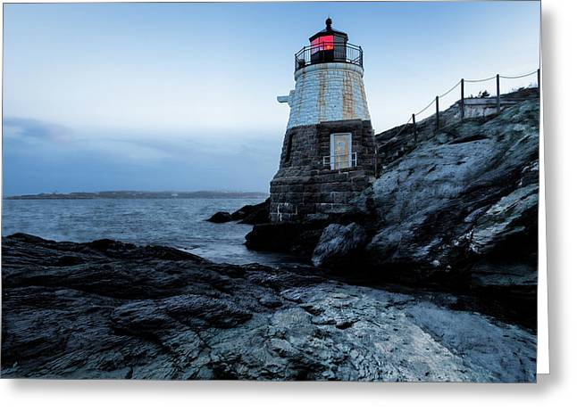 Dawn At Castle Hill Lighthouse Greeting Card by Andrew Pacheco