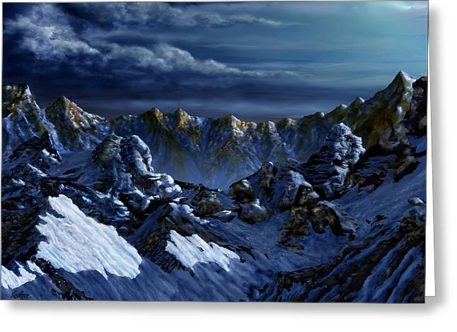 Greeting Card featuring the digital art Dawn At Eagle's Peak by Curtiss Shaffer