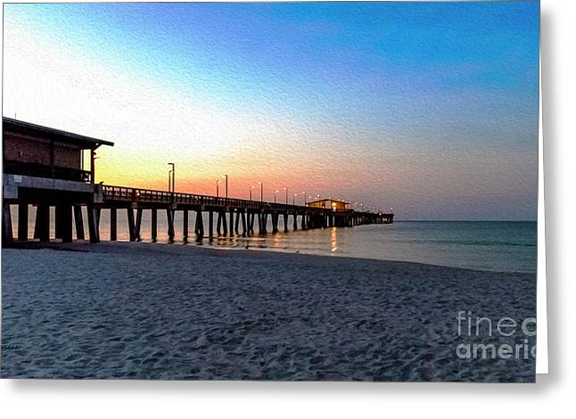 Dawn At Gulf Shores Pier Al Seascape 1283a Digital Painting Greeting Card