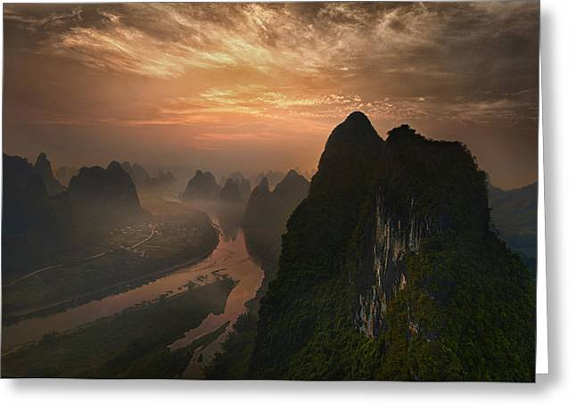 Dawn At Li River Greeting Card by Mieke Suharini