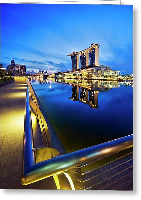 Dawn At Marina Bay Promenade Singapore Greeting Card by Ng Hock How