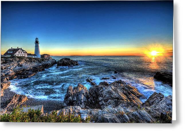 Dawn At Portland Head Lighthouse Greeting Card