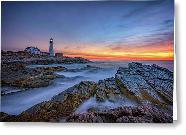 Dawn At Portland Head Lighthouse Greeting Card by Rick Berk