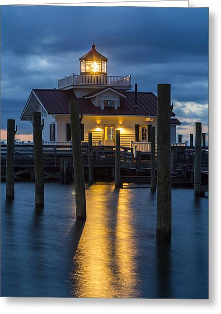 Dawn At Roanoke Marshes Lighthouse Greeting Card