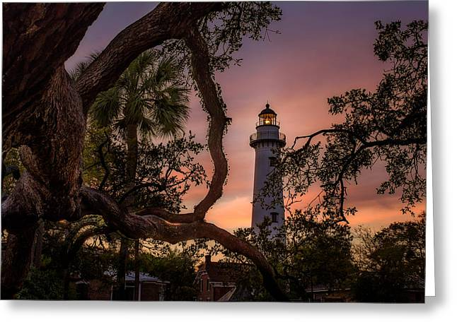 Dawn At Saint Simons Lighthouse - Horizontal Greeting Card by Chris Bordeleau