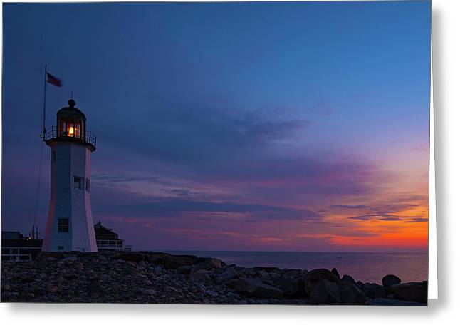 Dawn At Scituate Light Greeting Card