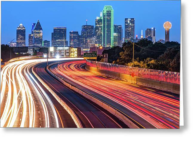 Dawn At The Dallas Skyline - Texas Cityscape Greeting Card