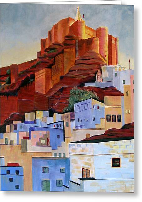 Dawn At The Fort In Jodhpur  Greeting Card