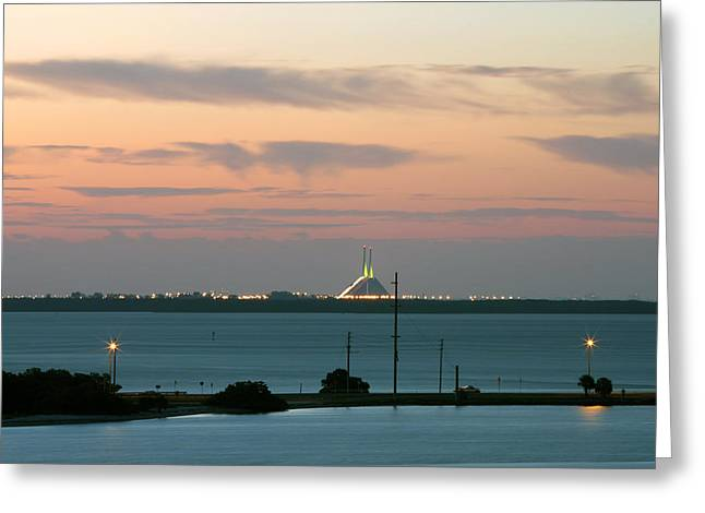 Dawn At The Sunshine Skyway Bridge Viewed From Tierra Verde Florida Greeting Card by Mal Bray