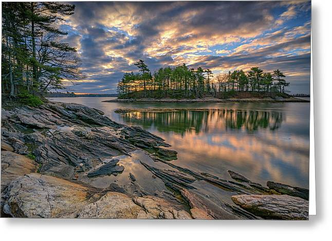 Dawn At Wolfe's Neck Woods Greeting Card by Rick Berk