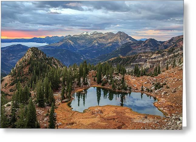 Dawn Glow At Silver Glance Lake. Greeting Card
