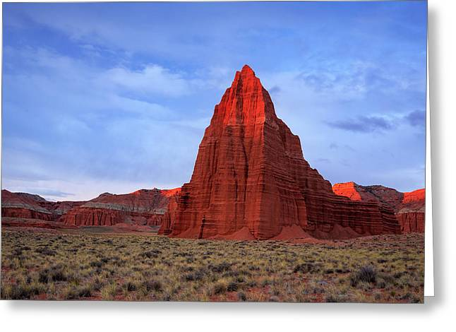 Greeting Card featuring the photograph Dawn Glow In Cathedral Valley. by Johnny Adolphson