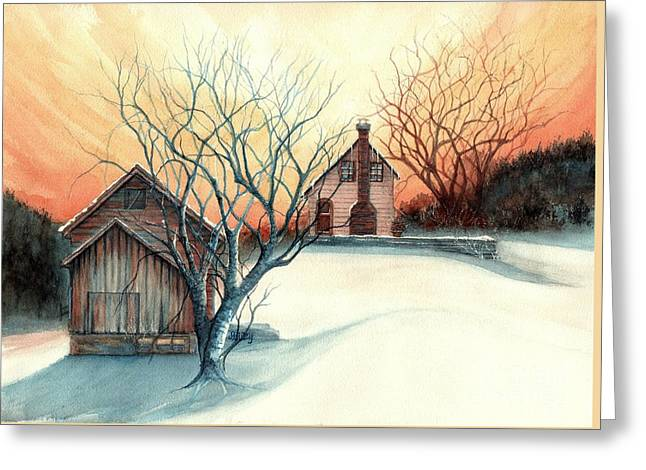 Dawn Has Spoken - Farmhouse Sunrise Greeting Card