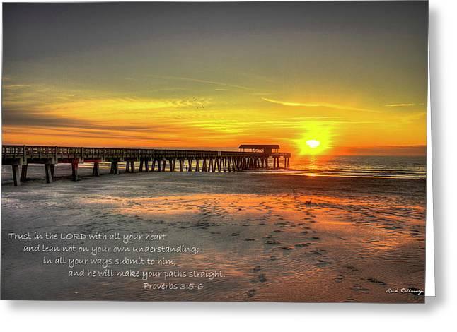 Dawn Tybee Pier Proverbs 3 Tybee Island Sunrise Scripture Ar Greeting Card by Reid Callaway