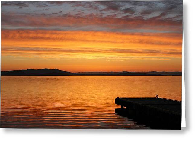 Dawn In The Sky At Dusavik Greeting Card