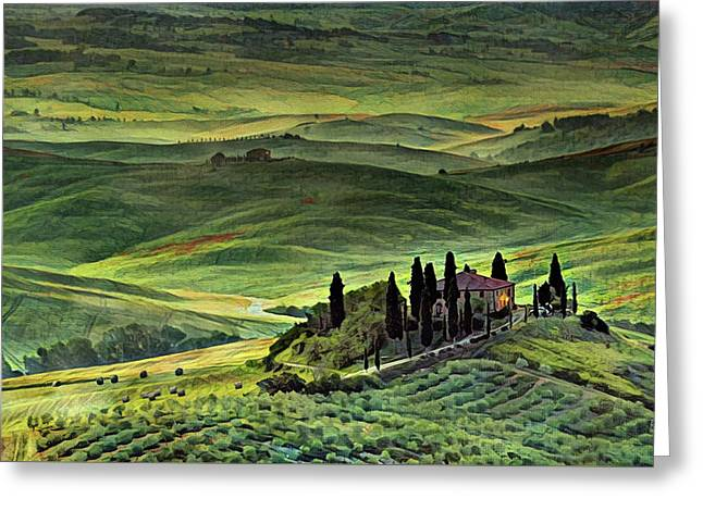 Dawn In Tuscany Italy Greeting Card by Russ Harris