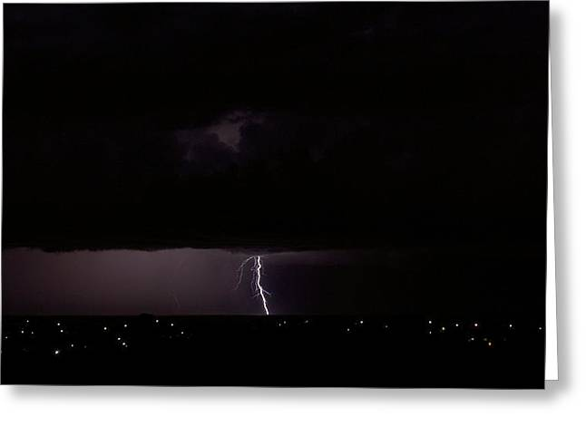 Greeting Card featuring the photograph Dawn Lightning by Odille Esmonde-Morgan